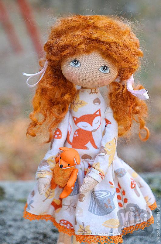 Человечки ручной работы. Ярмарка Мастеров - ручная работа. Купить Текстильная кукла Сонечка (Резерв). Handmade. Оранжевый, лисенок, doll