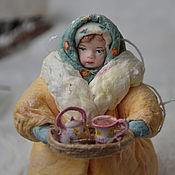 Подарки к праздникам ручной работы. Ярмарка Мастеров - ручная работа Ватная елочная игрушка НИНУЛЯ (торговка чая). Handmade.