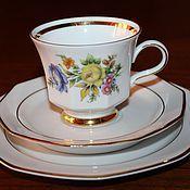 Винтаж handmade. Livemaster - original item Beautiful tea trio with flowers(both sides), Winterling, Germany. Handmade.
