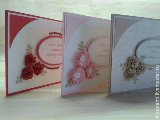 """Открытки на все случаи жизни ручной работы. Ярмарка Мастеров - ручная работа. Купить открытки """"Цветы"""". Handmade. Розовый, набор открыток"""