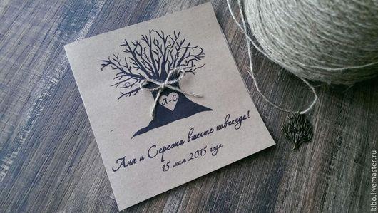 Пригласительные ручной работы. Ярмарка Мастеров - ручная работа. Купить Tree. Handmade. Бежевый, ВЕЧЕРИНКА, крафт-бумага