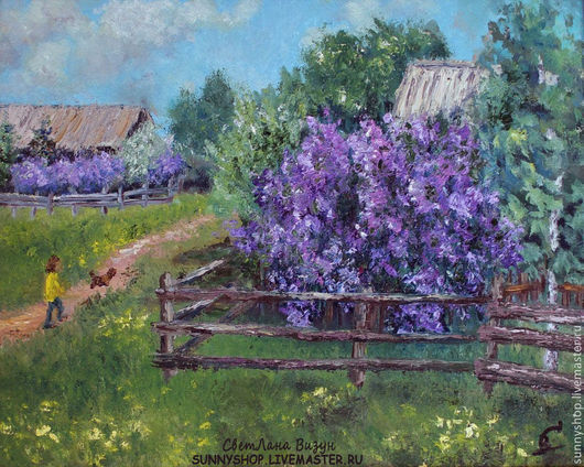 Картина маслом в раме `Цветет сирень в деревне`. Картина оформлена в авторскую раму ручной работы. Картина пейзаж в раме купить в Москве