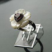 "Украшения handmade. Livemaster - original item Гранат ""Сакура"" кольцо из перламутра с гранатом. Handmade."