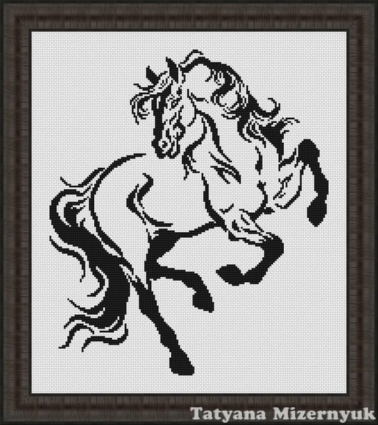 """Вышивка ручной работы. Ярмарка Мастеров - ручная работа. Купить Схема для вышивки крестиком """"Конь"""". Handmade. Авторские схемы вышивки"""