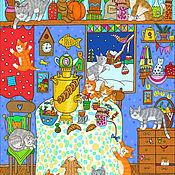 Картины и панно handmade. Livemaster - original item Painting Cat`s house Large poster for the house. Handmade.