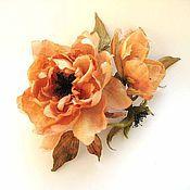 Украшения handmade. Livemaster - original item Silk flowers. Brooch hairpin TERRY ROSE. Handmade.