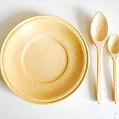 Для дома и интерьера ручной работы. Ярмарка Мастеров - ручная работа Набор блюдце с ложками из кедра. Handmade.