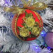 Подарки к праздникам ручной работы. Ярмарка Мастеров - ручная работа Новогодние шары с вышивкой лентами. Handmade.