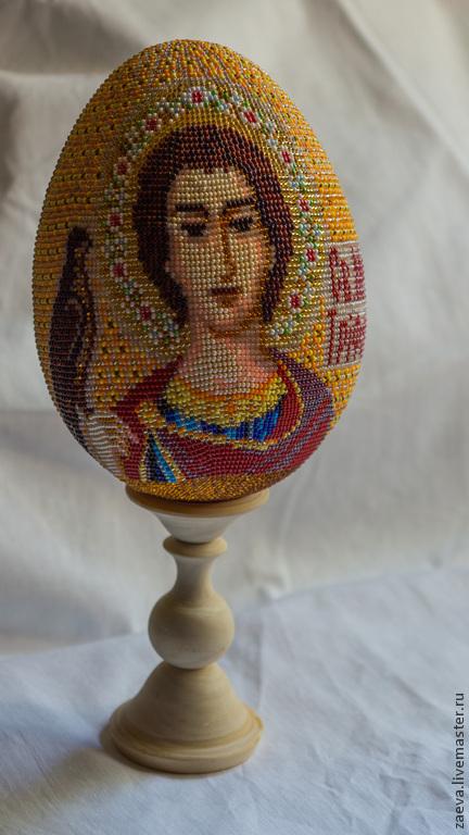 Яйца ручной работы. Ярмарка Мастеров - ручная работа. Купить Яйцо из бисера. Икона Св. Мученик Трифон.. Handmade. Бисер