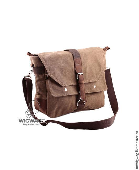 Мужские сумки ручной работы. Ярмарка Мастеров - ручная работа. Купить Мужская сумка на два отделения, коричневый канвас и кожа. Handmade.