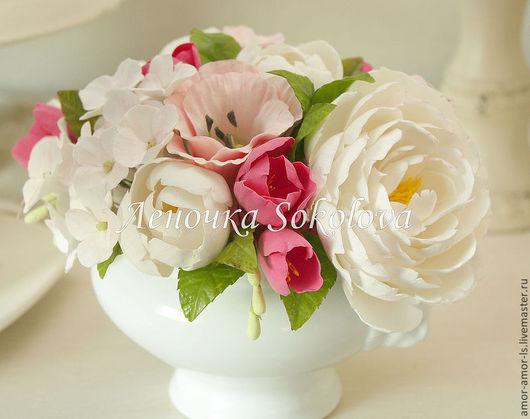 Букеты ручной работы. Ярмарка Мастеров - ручная работа. Купить Букет с гортензией, фрезией и пионами Вкус ванили в белом-розовом цвет. Handmade.