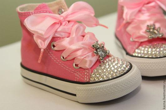 """Обувь ручной работы. Ярмарка Мастеров - ручная работа. Купить """"Плюшевые мишки"""" для малышки. Handmade. Розовый, для принцессы, стразы сваровски"""