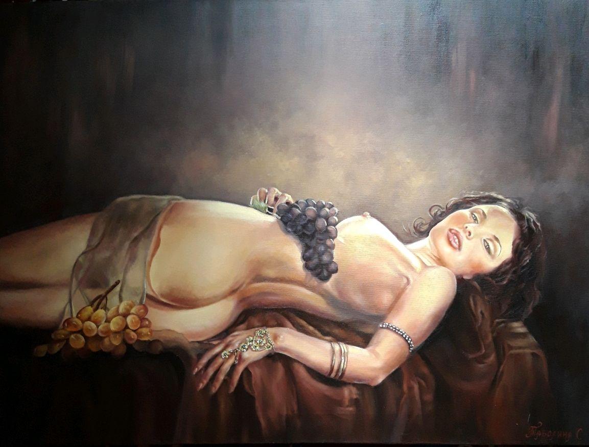 "Картина маслом ""Соблазн девушки"". Девушка с виноградом. Ню, Картины, Анапа,  Фото №1"