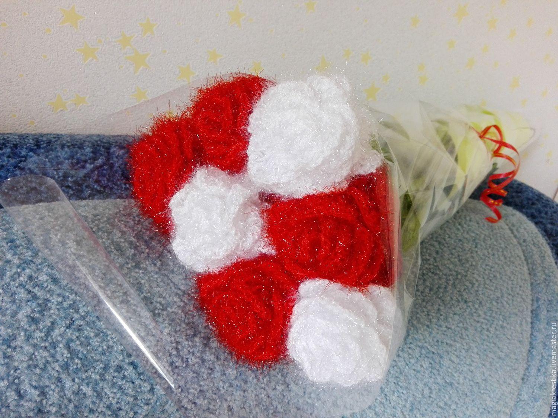 вязаные цветы розы купить в интернет магазине на ярмарке мастеров