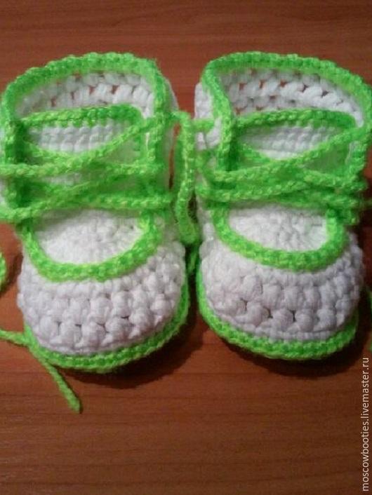 Для новорожденных, ручной работы. Ярмарка Мастеров - ручная работа. Купить Пинетки на шнурочках.. Handmade. Белый, пинетки для новорожденных, хлопок
