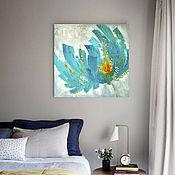 Картины и панно handmade. Livemaster - original item Painting for interior Turquoise flower with gold. Handmade.