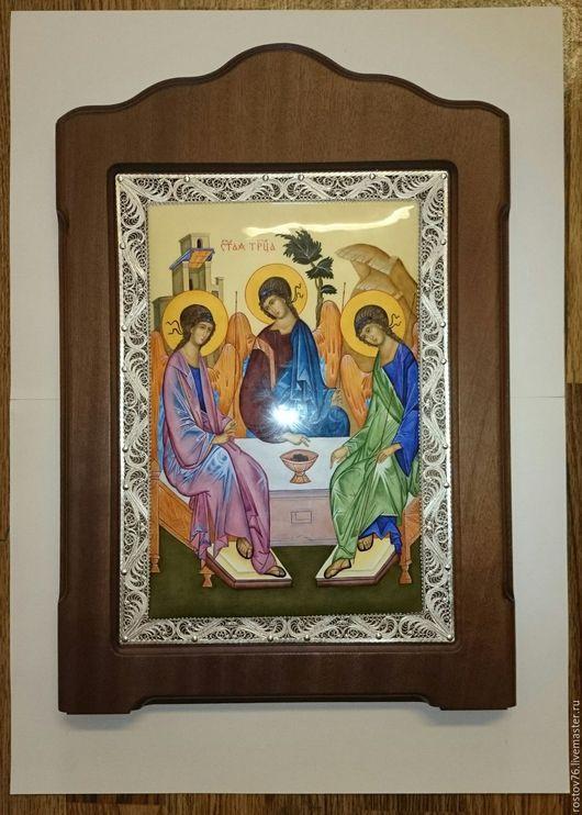 """Иконы ручной работы. Ярмарка Мастеров - ручная работа. Купить Икона """" Святая Троица"""". Handmade. Разноцветный, подарок иностранцу"""