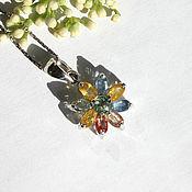 """Украшения ручной работы. Ярмарка Мастеров - ручная работа Кулон  """"Сапфировый цветок"""" сапфир в серебре. Handmade."""