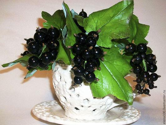 Цветы ручной работы. Ярмарка Мастеров - ручная работа. Купить Черная смородина - керамическая флористика. Handmade. Черный, ягоды и листья