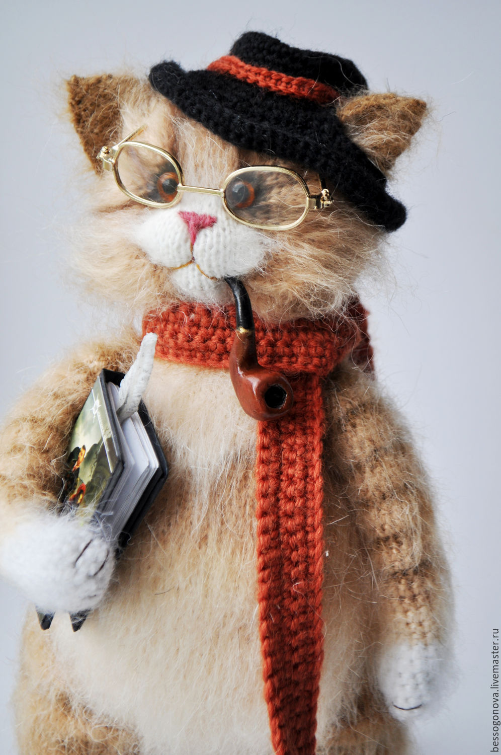 Author toy knitted cat WRITER 28-30 cm(other size possible) is Made and crochet of natural soft mohair and wool, glass eyes. Inside the wire frame