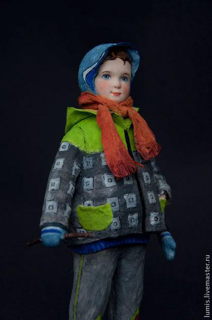 """Коллекционные куклы ручной работы. Ярмарка Мастеров - ручная работа. Купить Художественная кукла """"Мальчик с собачкой"""". Handmade. Мальчик"""