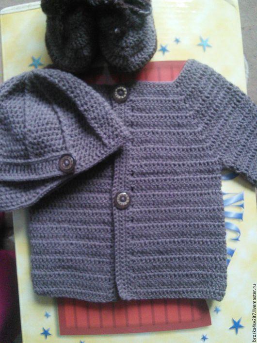Для новорожденных, ручной работы. Ярмарка Мастеров - ручная работа. Купить Комплектик для малыша кофточка, пинетки, шапка. Handmade. Коричневый
