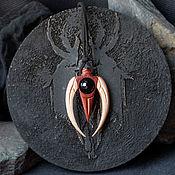 Украшения handmade. Livemaster - original item Wooden pendant with black agate