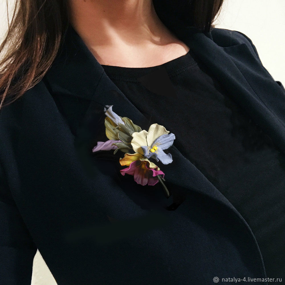 Pansy brooch made of genuine leather ' rainbow', Brooches, Rostov-on-Don,  Фото №1