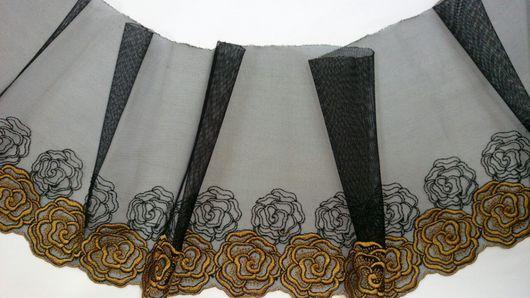 Аппликации, вставки, отделка ручной работы. Ярмарка Мастеров - ручная работа. Купить вышивка на сетке  Mil-90 черно/горчичного цвета. Handmade.