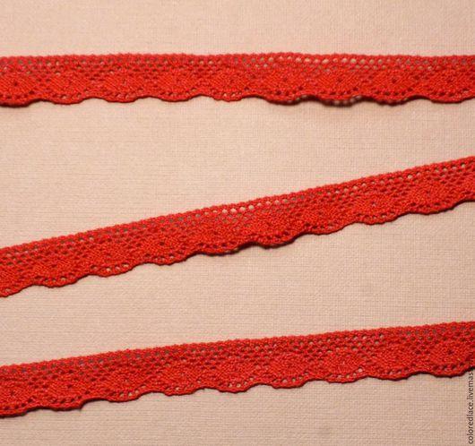 Шитье ручной работы. Ярмарка Мастеров - ручная работа. Купить Ярко-красное хлопковое кружево арт. 192. Handmade. Кружево