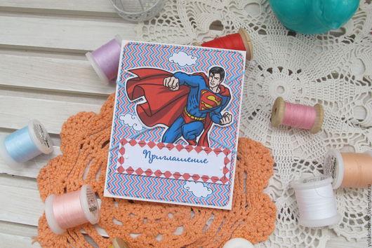 """Пригласительные ручной работы. Ярмарка Мастеров - ручная работа. Купить Приглашение на крестины или день рождения """"37"""" супермен. Handmade."""