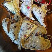 Для дома и интерьера ручной работы. Ярмарка Мастеров - ручная работа Сердечки-подвески текстильные в винтажном стиле. Handmade.