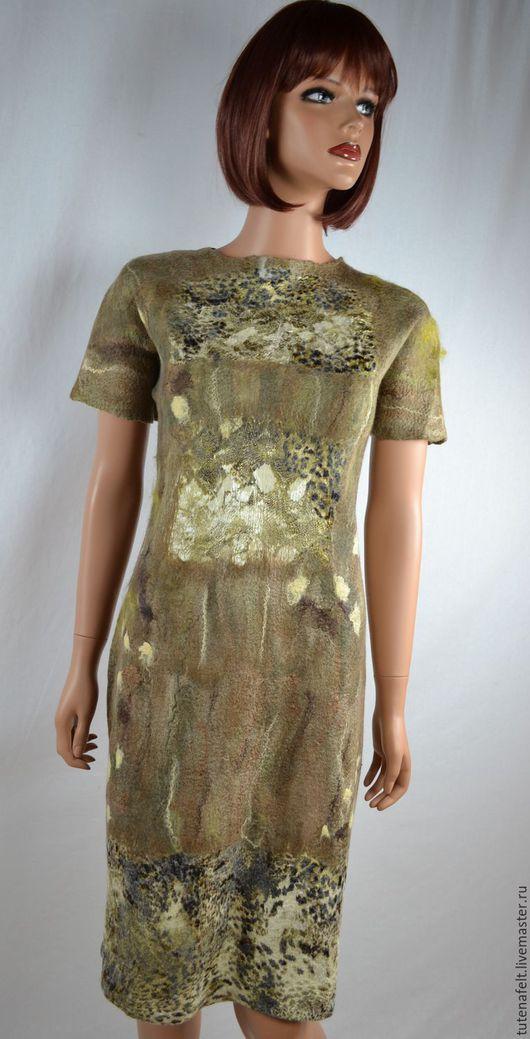 """Платья ручной работы. Ярмарка Мастеров - ручная работа. Купить Валяное платье """" Саванна"""". Handmade. Летние платья, коричневый"""