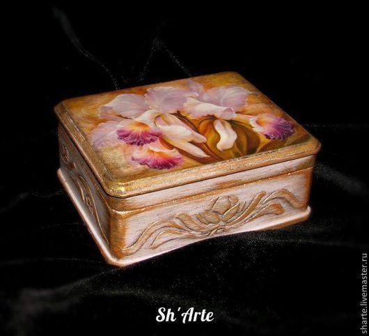 Шкатулки ручной работы. Ярмарка Мастеров - ручная работа. Купить Шкатулка с орхидеями Каттлея. Handmade. Бледно-сиреневый, заготовка