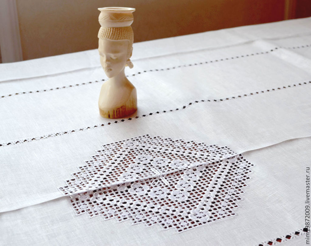 Attractive White Linen Table Cloth, Strojeva Embroidery, White On White, Russian  Style, ...