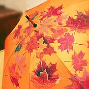 """Аксессуары ручной работы. Ярмарка Мастеров - ручная работа Зонт с ручной росписью """"Осенние листья"""". Handmade."""