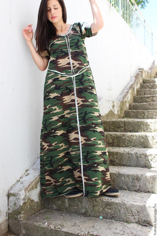 """Платья ручной работы. Ярмарка Мастеров - ручная работа. Купить Длинное платье """"Lovely Military"""" D0024. Handmade. Платье на весну"""