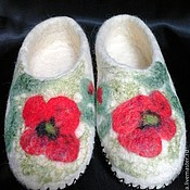 """Обувь ручной работы. Ярмарка Мастеров - ручная работа Тапочки """"Маки"""". Handmade."""