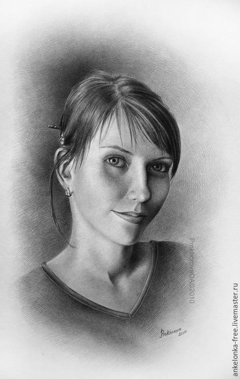"""Люди, ручной работы. Ярмарка Мастеров - ручная работа. Купить Портрет по фото """"Карина"""". Handmade. Серый, портрет на заказ"""