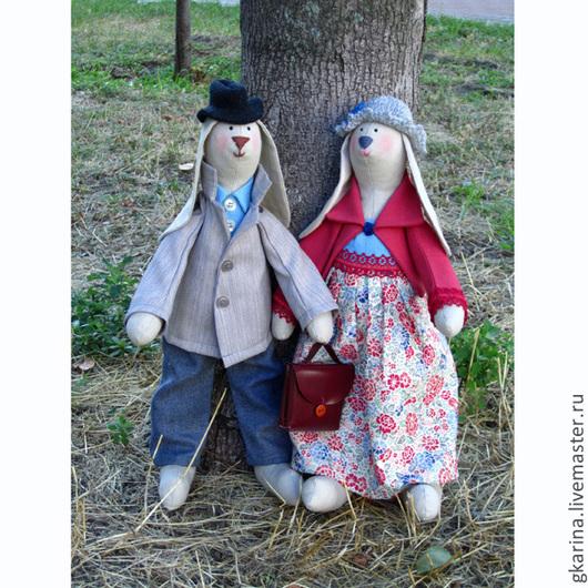 Куклы Тильды ручной работы. Ярмарка Мастеров - ручная работа. Купить Городская пара Зайцев (большие). Handmade. Зайка