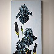 """Картины ручной работы. Ярмарка Мастеров - ручная работа Картина маслом: """" Чёрные бархатные ирисы"""". 30 х 60 см. Handmade."""
