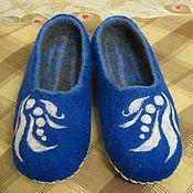 Обувь ручной работы. Ярмарка Мастеров - ручная работа Синие домашние тапочки.. Handmade.