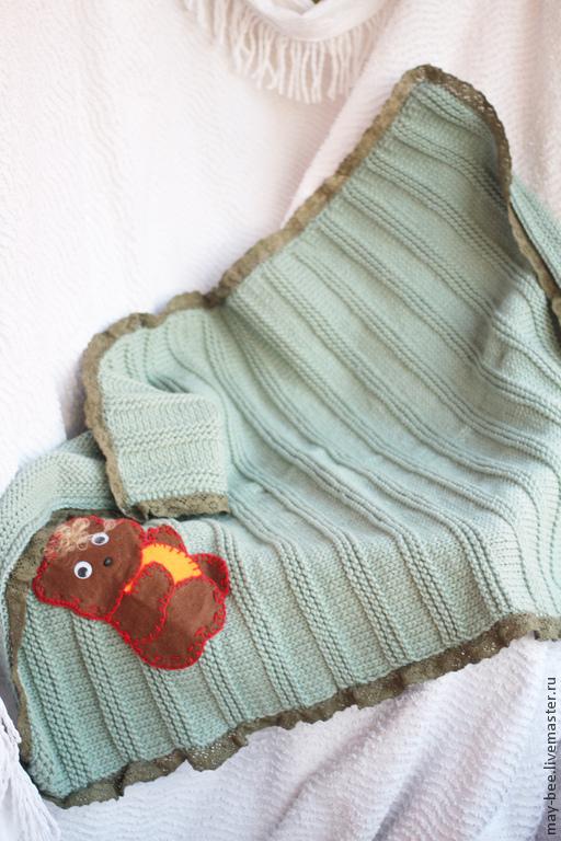 Пледы и одеяла ручной работы. Ярмарка Мастеров - ручная работа. Купить Винтажный плед. Handmade. Оливковый, вязанный плед