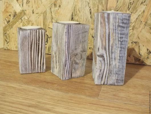 Подсвечники ручной работы. Ярмарка Мастеров - ручная работа. Купить подсвечник из дерева. Handmade. Серый, подсвечник из дерева, дерево