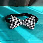 Аксессуары handmade. Livemaster - original item Tie black Vichy / bow tie black plaid. Handmade.