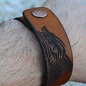 Украшения ручной работы. Ярмарка Мастеров - ручная работа Браслет кожаный - тотем волк. Handmade.