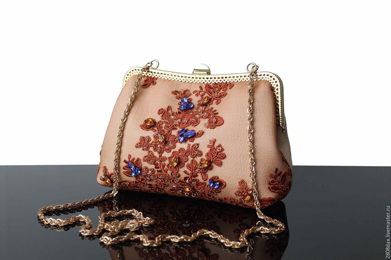Evening bag, embroidery, Classic Bag, Bordeaux,  Фото №1