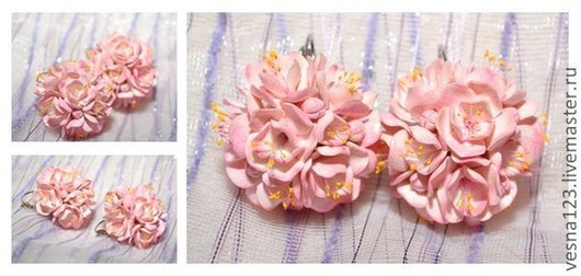 """Серьги ручной работы. Ярмарка Мастеров - ручная работа. Купить Серьги """"Сакура"""". Handmade. Бледно-розовый, цветы"""