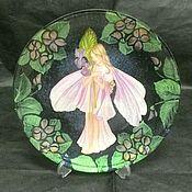"""Картины и панно ручной работы. Ярмарка Мастеров - ручная работа тарелка """"Ночная фиалка"""". Handmade."""