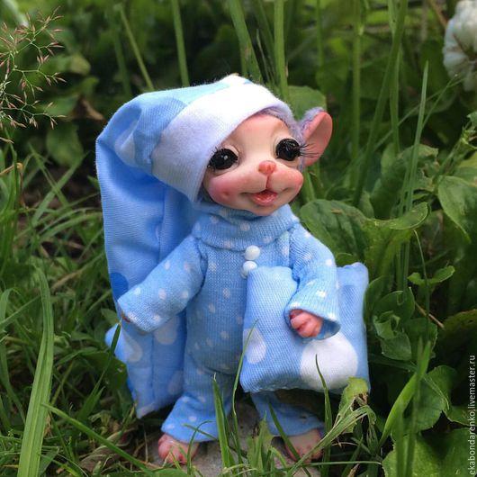 Коллекционные куклы ручной работы. Ярмарка Мастеров - ручная работа. Купить Мышонок - сплюшка в пижамке.. Handmade. Каркас, оригинальный подарок